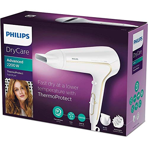 Philips DryCare Advanced HP8232/00 Secador ThermoProtect Ionic con Ionizador para Suavizar el Cabello, 2200 W, Blanco