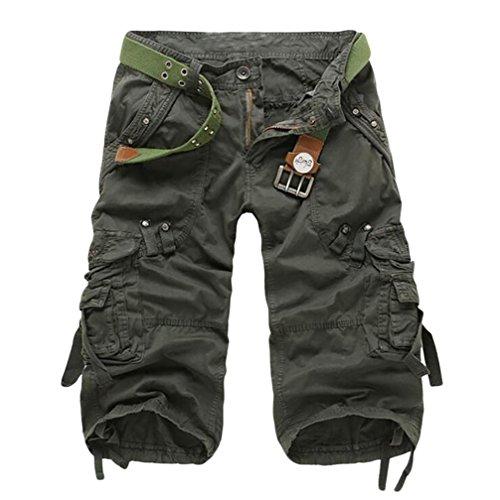 ZKOO Uomo Vintage Cargo Shorts con Tasconi Laterali Estivi Bermuda Pantaloni Corti Sportivo Pantaloncini Militari Cargo Pantaloncini Esercito Verde
