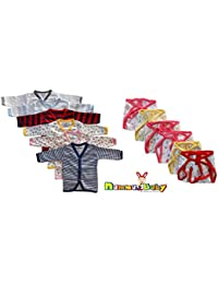 NammaBaby Cotton Front Open Full Sleeves vest Tshirt Jhabla & Nappy for New Born Baby Pack Of 12