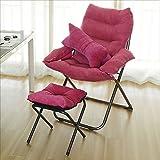 Klappstuhl XIAOYAN Vintage Single Sofa Stuhl und Fußstütze Verstellbar Hochwertige Baumwolle + Edelstahl Multi-Color Optional (Farbe : 02)