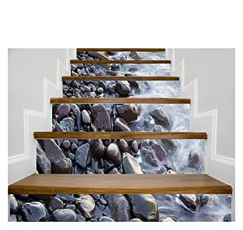 Wall Sticker 3D Simulation Stair Stickers Waterproof Wall Sticker DIY Home Decor Decoration Staircase Sticker 100 * 18 cm gray large stone 6 pieces (Zertifizierung Simulation)