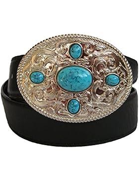 Moda Mujer Cinturón De Piel Con elegante Ornament hebilla–Modelo Five Star, varios colores, con banda negro...