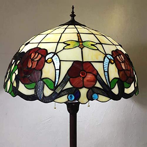 PIN 16-Zoll-Stil Stehleuchte, Glasmalerei/Libelle Rose Stehleuchte mit Kunststoffsockel, Euro-Augenschutz-Stehleuchte für das Arbeitszimmer, E27, Max40W -