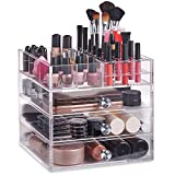 Beautify Jewellery Box & Cosmetic Organiser - Large Clear Acrylic Storage Box, Cosmetic Stand with 3 Drawers, 21 Brush/Lip Gloss Holders & 6 Individual Top Sections