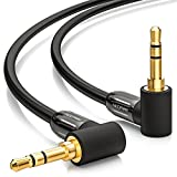 deleyCON 1,5m Klinkenkabel 3,5mm Aux Kabel Stereo Audio Kabel Klinkenstecker 90° gewinkelt für PC Laptop Handy Smartphone Tablet KFZ HiFi-Receiver Schwarz