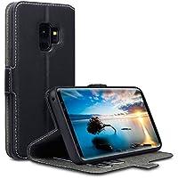 Samsung S9 Hülle, Terrapin Leder Tasche Case Hülle im Bookstyle mit Standfunktion Kartenfächer für Samsung Galaxy S9 Hüllen - Schwarz