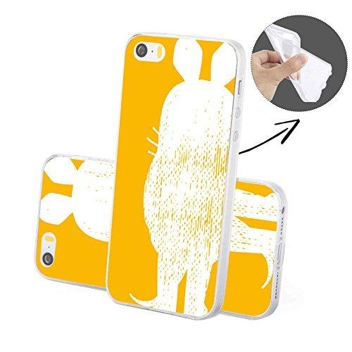 FINOO | Iphone SE Silikon-Handy-Hülle | Transparente TPU Cover Schale | Tasche Case mit Slim Rundum-schutz | stoßfester dünner weicher Bumper | Sendung mit der Maus Motiv | Maus schwarz Maus gelb