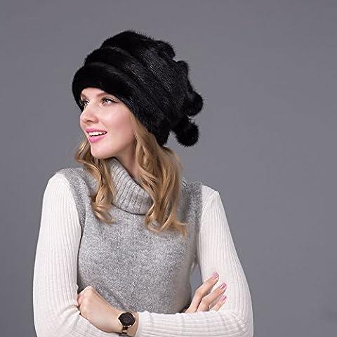 ZJJ Hierba sombrero invierno sombrero elegante señora boina sombrero de piel de visón de simple moda Europea ,