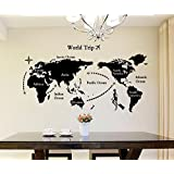 ARWY Wallstickers For Home 'World Map' Wall Sticker (Glossy Vinyl, 90 Cm X 60 Cm, Black)