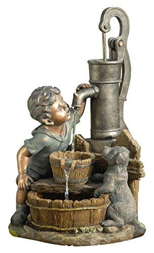 Dehner Polyresin Brunnen Junge mit LED Beleuchtung, ca. 68.5 x 37 x 39 cm, 8 kg