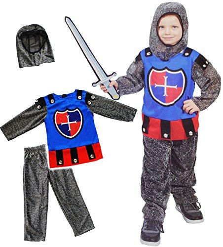 alles-meine.de GmbH 3 TLG. Kostüm -  Ritter  - 3 bis 5 Jahre - Gr. 104 - 116 - Karneval - Fasching + Halloween / Hose + Shirt / Pullover + Mütze - Kinderkostüm - Mädchen Jungen.. (5 Elemente Kostüm)