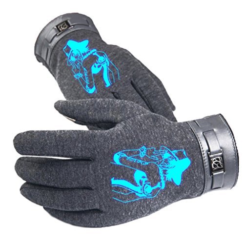 Bromeo One Piece Anime Hiver Chaud Lumineux Écran Tactile Gants Gloves Mittens Gris 6