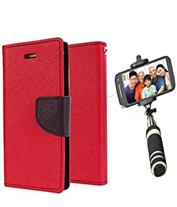 Aart Fancy Diary Card Wallet Flip Case Back Cover For Mircomax A110 -(Red) + Mini Aux Wired Fashionable Selfie Stick Compatible for all Mobiles Phones By Aart Store