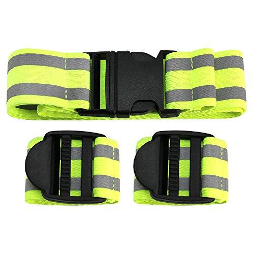 com-four® 3-teiliges Set Reflektorbänder, Dehnbare Reflexbänder mit Gürtel und Armband, Sicherheit beim Joggen, Radfahren und Anderen Outdoor Aktivitäten
