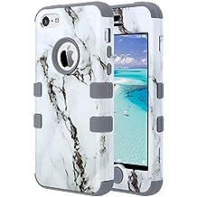 iPhone 5c caso, ULAK iPhone 5c Funda Carcasa de silicona de alto impacto de silicona suave y duro caso de la PC cubierta para el iPhone 5c (mármol + gris)