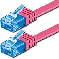 Cavo piatto CAT6 10/100/1000 Mbit/s | Gigabit LAN networkcable | FLAT | Slim | Patchkabel | nastro | cavo LAN | ideale per pavimenti, parquet, strisce di confine, battiscopa, tappeti magenta - 1 piece (Cat 6a) 0,5 m