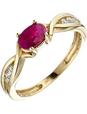 JOBO Damen Ring 333 Gold Gelbgold 1 Rubin rot 6 Zirkonia Goldring Rubinring