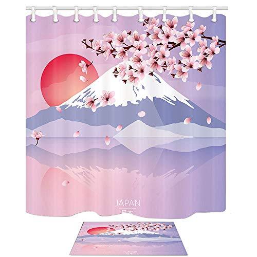 Aliyz Poster Duschvorhang Japan Travel Mount Fuji Sakura Oriental Kirsche Sun 71X71in Duschvorhang Set 15.7x23.6in Flanell rutschfeste Boden Fußmatte Bad Teppiche - Bottom Mount Licht