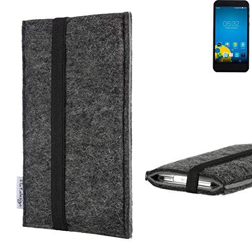 flat.design Handyhülle Lagoa für Vestel 5000 Dual-SIM | Farbe: anthrazit/grau | Smartphone-Tasche aus Filz | Handy Schutzhülle| Handytasche Made in Germany