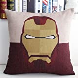 Mary's Home Superman Batman Green Lantern Captain America, Iron Man, the Flash Cotton & Linen Pillowcase Decorative Throw Pillow Cover (Iron Man)