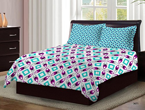 Bombay Dyeing Cardinal 100% Cotton Double Bedsheet with 2 Pillow Covers- With Beauthiful Floral Printed Design Purple Color with Magenta Print TC-104 Bedsheet Type- Axia  available at amazon for Rs.699