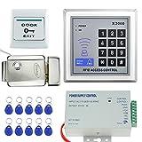 LIBO Kit Conjunto de Kit de Sistema de Control de Acceso RFID Teclado Independiente con Metal Cerradura Eléctrica DC12V 3A Fuente de Alimentación Botón de Salida para Sistema de Entrada de Puerta