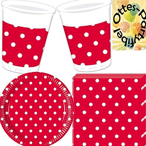 DOTS Sommerparty Party-Set 40tlg. Red Rote Punkte Teller Becher Servietten für 10 Personen (Rot Party Pappteller)