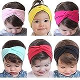 Kfnire 6 Piezas Bebé Niña Diademas y cintas de pelo elástico algodón turbante Gomas del pelo para fotografía Props, disfraz, fiesta