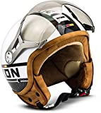 SOXON SP-325-PLUS White · Helmet Vintage Motorrad-Helm Jet-Helm Biker Mofa Pilot Chopper Cruiser Scooter-Helm Roller-Helm Retro Vespa-Helm Bobber · ECE zertifiziert · inkl. Sonnenvisier · inkl. Stofftragetasche · Weiß · M (57-58cm)