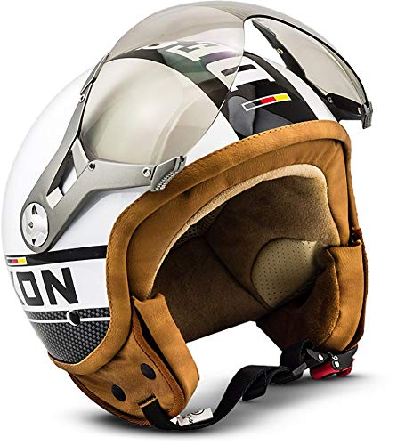 SOXON SP-325-PLUS White · Biker Chopper Vespa-Helm Jet-Helm Scooter-Helm Bobber Cruiser Retro Pilot Vintage Motorrad-Helm Helmet Roller-Helm Mofa · ECE zertifiziert · inkl. Sonnenvisier · inkl. Stofftragetasche · Weiß · XL (61-62cm)