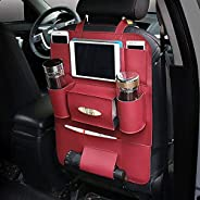 AutoEC Car Seat Back Storage Bag Water-Repellent Pu Leather Car Seat Back Organizer and iPad mini Holder, Universal Use as C
