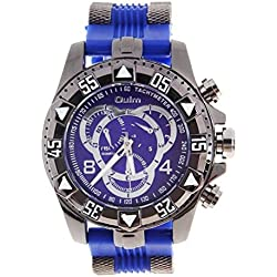WINOMO Oulm Men Analogue Quartz Wrist Watch (Blue Silver)