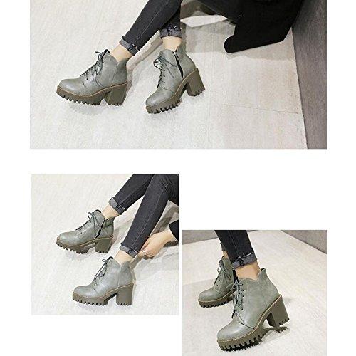 ... Haizhen Bottines Femmes Chaussures Pu Hiver Bottes D hiver Confort  Carve Talon Round Toe Lacets 794e8a9aad14