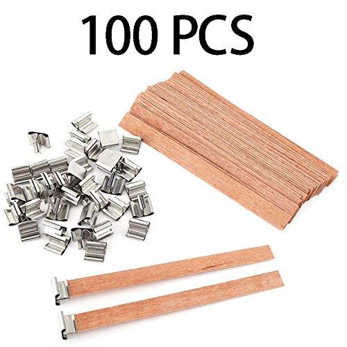Kerzendochte aus Holz, für Soja-Kerzen, Kerzenherstellung mit Metallständer, 100 Stück -
