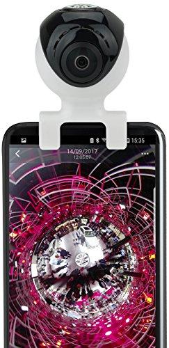 dnt VRCAM720 Dual 2MP, 360 Grad VR Aufsteck-Kamera für Android Smartphone, 39 x 42 x 60 mm schwarz/weiß