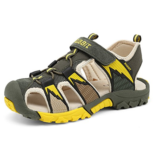 Chiusi sandali sportivi estivi per bambini e ragazzi scarpe da trekking da camminata sandaletti bimba all'aperto,verde 37