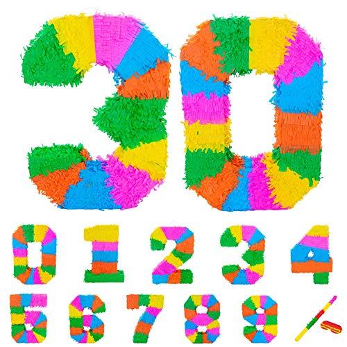 Fax Potato Pinata Set mit Stick & Blindfold - 30. Geburtstag/Jahrestag - Rainbow