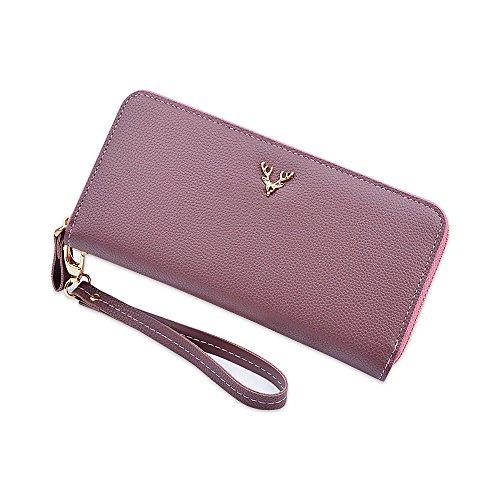 Litchi Grain Long Large Wallet Purses per donna Clutch Handbags con cinturino da polso Viola