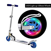 WeSkate Scooter for Kids with LED Light Up Wheels, Adjustable Height Kick Scooters for Boys and Girls, Rear Fender Break, 5lb Lightweight Folding Light Up Kids Scooter, 110lb Weight Capacity