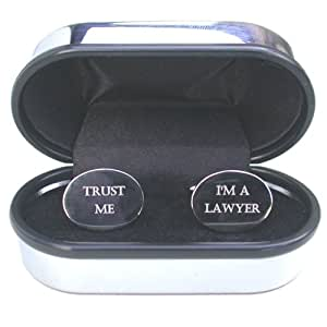 """Lawyer Cufflinks - Rhodium plated oval cufflinks with """"Trust me I'm a Lawyer"""" engraved onto them. The cufflinks are supplied in a chrome presentation case and make the perfect fun gift for any Lawyer"""