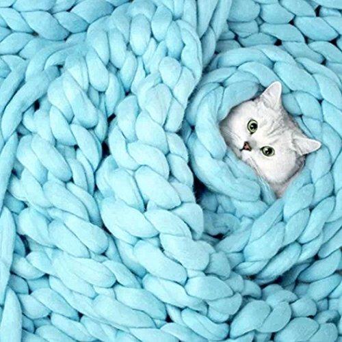Routinfly Hand Chunky gestrickte Decke dünne Garn Merino Wolle sperrige Stricken werfen 80x100cm (Blue) (Chunky Garn Merino)