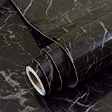 Kunstleder schwarz Marmor Kontakt Papier Selbstklebende Rückseite Vinyl Film schälen und Stick Marmor Regalen für Küche zinntheken Unterschrank Duett Crafts Projekte (24von 297,2cm)