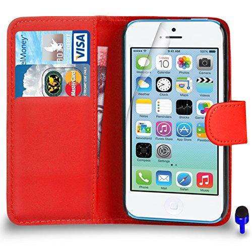 Apple iPhone 5C Premium Leather Wallet noir flip écran Housse Pouch + Protecteur & Chiffon PAR SHUKAN®, (Noir) Rouge