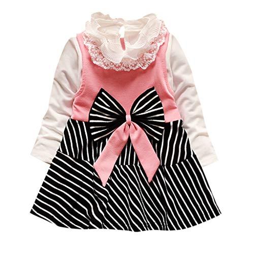 Lenfesh Kinder Baby Mädchen Prinzessin Kleid Langarm Blumen Tutu Kleid Partykleid Festkleid Floral Princess Splice Kleid T-Shirt Kleidung Set
