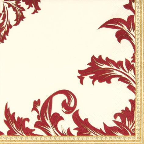 20 Servietten Luxury champagner/bordeaux - Ornamente edel champ./bordeaux - Zeitlos/Hochzeit 33x33cm