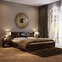 HomeTown Bolton King Size Engineered Wood Bed With Box Storage (Particle Board - Wenge)
