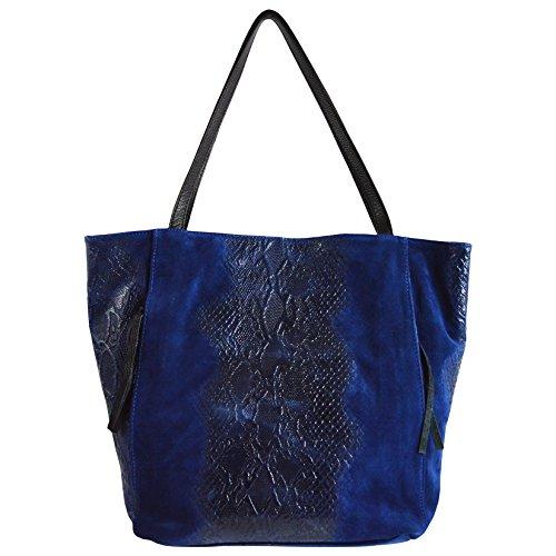 CTM Le sac à main des femmes en cuir de daim véritable italien à motif animalier made in Italy 33x38x11 Cm