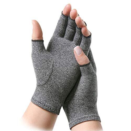 EUTUOPU Anti Arthritis Compression Gloves Doctor Written Handbook Women Fingerless Relieve Arthritis Symptoms Raynauds Disease Carpal Tunnel (S) -