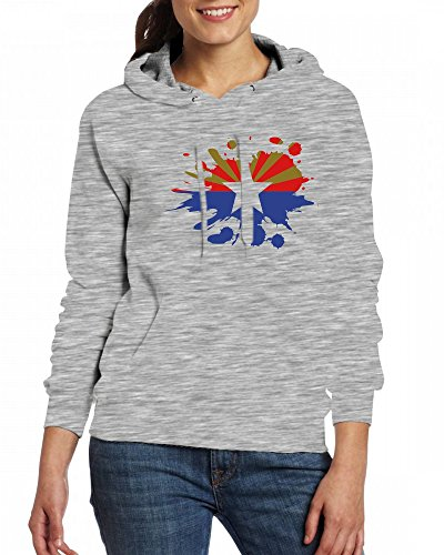 Arizona Flag Womens Hoodie Fleece Custom Sweartshirts Grey