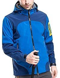 GLESTORE Chaqueta Hombre Softshell Impermeable Aire Libre Windbreaker Deportes con Capucha S-XL